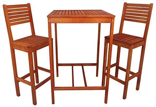 Zen Garden Eucalyptus 3-piece Bar Set With Bar Table And 2 Bar Chairs Natural Wood Finish