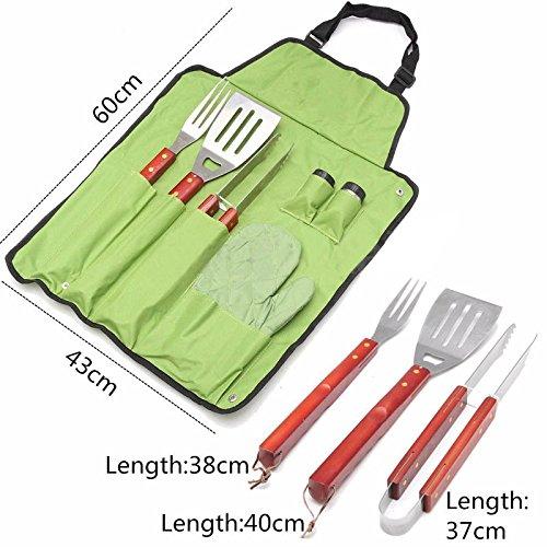 Jack-Store 7 Pcs Outdoor BBQ Barbecue Set Apron Utensil Set Roll Up Portable Bag Tools