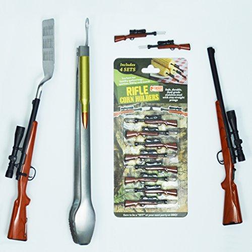 Gibson Bolt Action Rifle BBQ Tool Set - 4 Pc Tongs Lighter Spatula Corn Holders