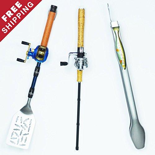 Gibson Spinning Reel Fishermans BBQ Tool Set - 3 Pc Tongs Lighter Spatula