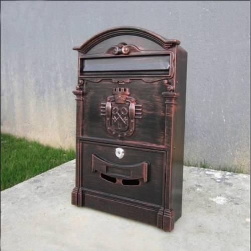 Vintage Russian Style Cast Aluminum Wall Mount Mailbox Mail Box W Lock Keys  Copper