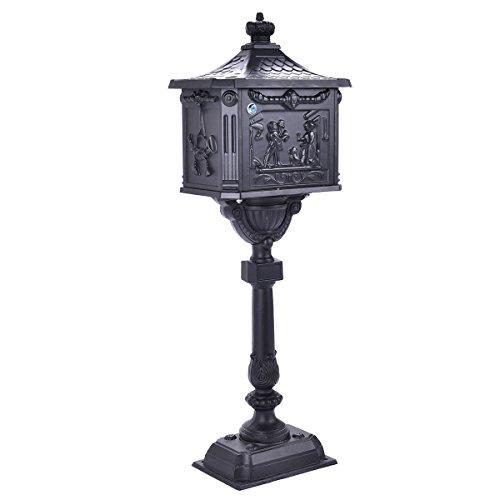 Black Mail Box Heavy Duty Mailbox Postal Box Security Cast Aluminum Vertical Pedestal