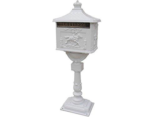 Mail Box Heavy Duty Mailbox Postal Box Security Cast Aluminum Vertical Pedestal white