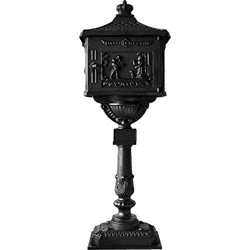 Tek Widget Heavy Duty Vertical Pedestal Postal Mailbox Black