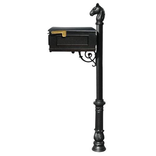 Qualarc Lewiston Cast Aluminum Post Mount Mailbox System With Post Aluminum Mailbox Ornate Base And Horsehead