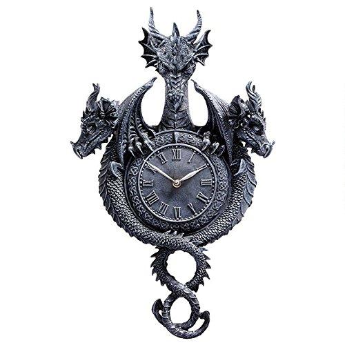Design Toscano Past Present Future Sculptural Dragon Halloween Wall Clock