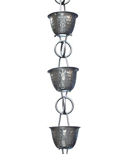 Monarch Rainchain Aluminum Hammered Cup Rain Chain Dark Bronze with Triangular Gutter Clip 85 by Monarch