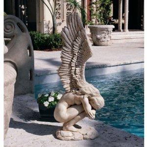 15&quot 18th Century Replica Winged Memorial Angel Sculpture Statue Figurine