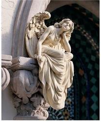 19th Century Italian Replica of Grace Sitting Wall Garden Angel Sculpture Statue Xoticbrands
