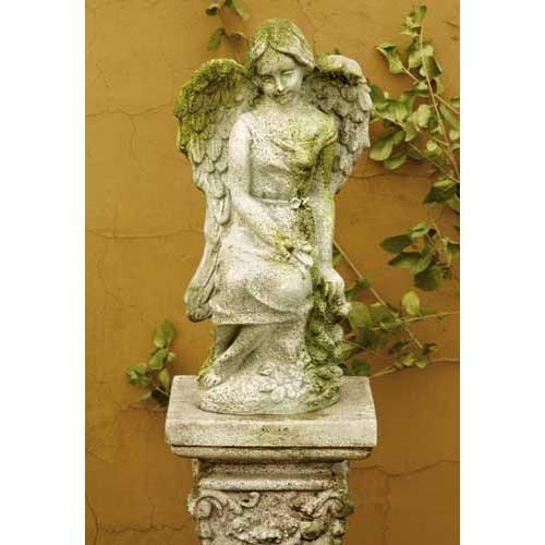 OrlandiStatuary FS8091 Lulu Angel Sculpture 15 White Moss Finish