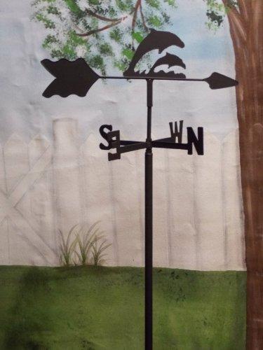 Dolphin Garden Style Weathervane Wrought Iron