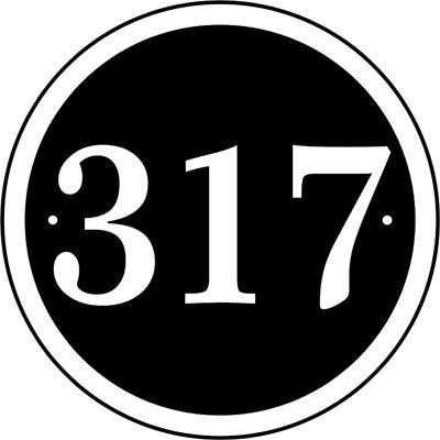 Comfort House Round Address Sign CRD08 black with white characters