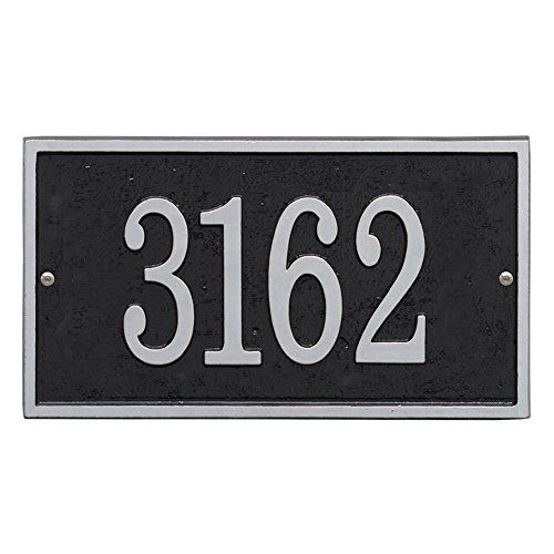 Personalized Cast Metal Rectangle House Number Custom Address Plaque Sign - Blacksilver