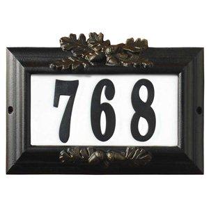 Qualarc Inc Edgewood Misty Oak Lighted Address Plaque Black Frame CMIST-1309-BL