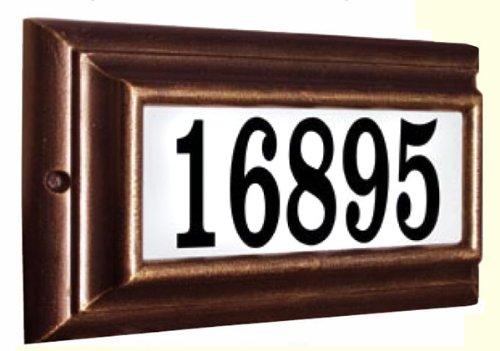 Qualarc Inc Edgewood Standard Lighted Address Plaque Antique Copper LTS-1300-AC
