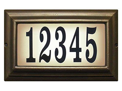 Qualarc LTL-1301-LED-FB-PN Edgewood Rust Free Cast Aluminum Rectangular Lighted Address Plaque with LED 4 Black Polymer Numbers French Bronze