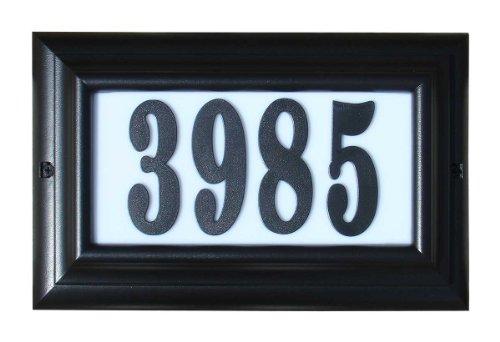 Qualarc LTL-1301BL-PN Edgewood Large Lighted Address Plaque in Black Frame Color with 4-Inch Black Polymer Numbers