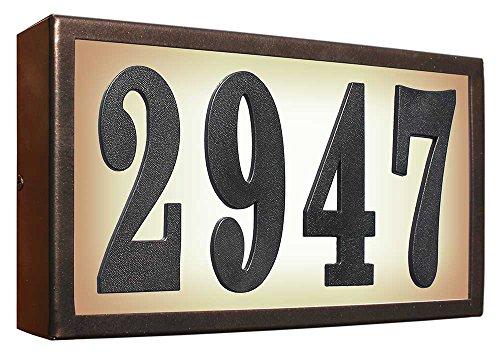 Qualarc SRST-AB60-BRZ Serrano Low Voltage Rust Free Galvanized Steel Rectangular Lighted Address Plaque with 4 Polymer Numbers Bronze