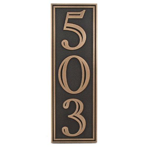 Hesperis Vertical Address Plaque 3 Number 5x15 - Raised Bronze Patina Metal Coated