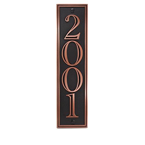 Hesperis Vertical Address Plaque 4 5x20 - Raised Copper Patina Coated