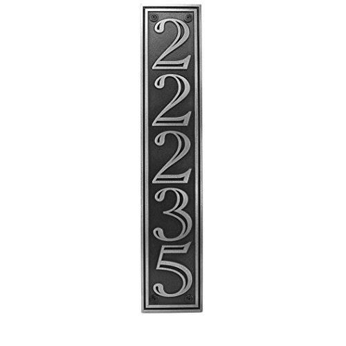 Hesperis Vertical Address Plaque 5 5x25 - Raised Pewter Coated