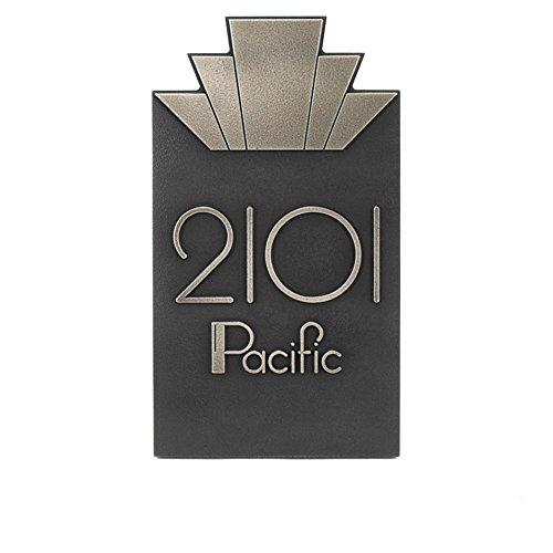 Moderne Art Deco Address Plaque Vertical 8x14 - Raised Silver Nickel Coated