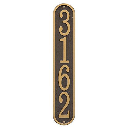 Personalized Cast Metal Vertical House Number Custom Address Plaque Sign - Bronzegold