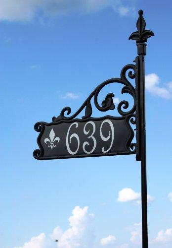 Boardwalk Reflective Address Sign With Fleur Di Lis Symbol 30&quot Pst