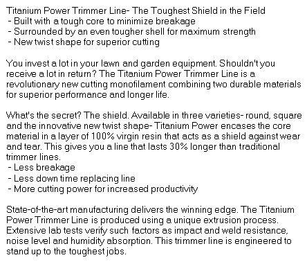 Titanium Power Trimmer Line 095 Square Part No A-B141095
