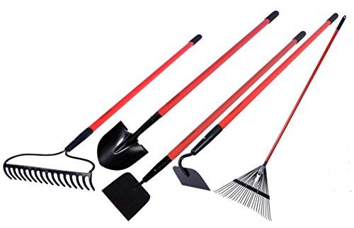 GardenAll Garden Tools Kit - Include Round Point Shovel 12 Guage Garden Hoe  Bow Rake  Poly Rake  Garden Cultivator with Fiberglass Handle - Five Pieces