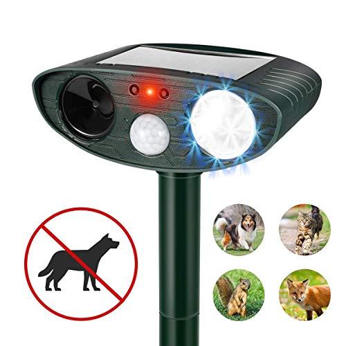 Humutan Ultrasonic Dog Mosquito Repellent Outdoor Powered and Non-Windproof ultrasonic pest Repellent cat Repellent with Motion Sensor and cat Dog Bird and Skunk Flash Sound generators