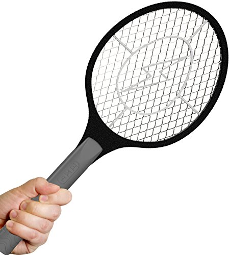 Bugzoff Electric Fly Swatter Racket - Best Zapper For Flies - Swat Insect Wasp Bugamp Mosquito With Hand - Indoor