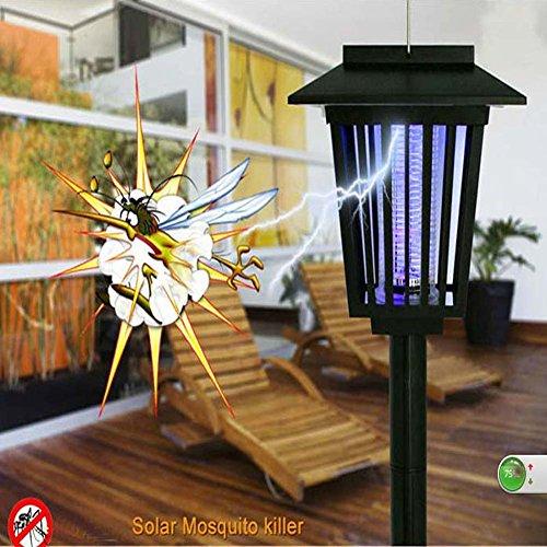 Led Solar Bug Zapper Lights Garden Lawn Pest Repellent Lighting Mosquito Killer Lamp Uv Light White Leds - Garden