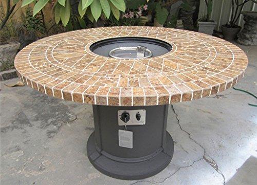 Gas Fireplace Fire Pit Outdoor Porcelain Mosaic Tile 48 Table Patio Deck Propane Line or Tank 50000 BTU Gray Base