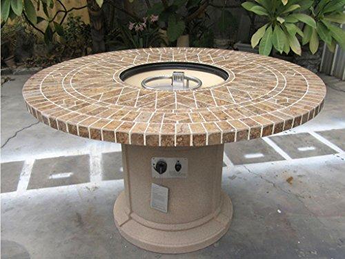 Gas Fireplace Fire Pit Outdoor Porcelain Mosaic Tile 48 Table Patio Deck Propane Line or Tank 50000 BTU Tan Base
