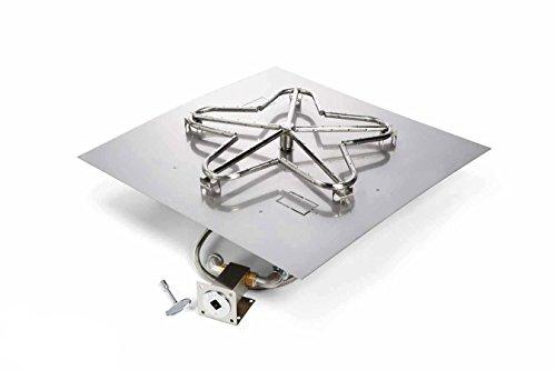 Hearth Products Controls MLFPK24-SQ-FLEX-NG Match Light Natural Gas Fire Pit Kit 24x24-Inch Flat Pan