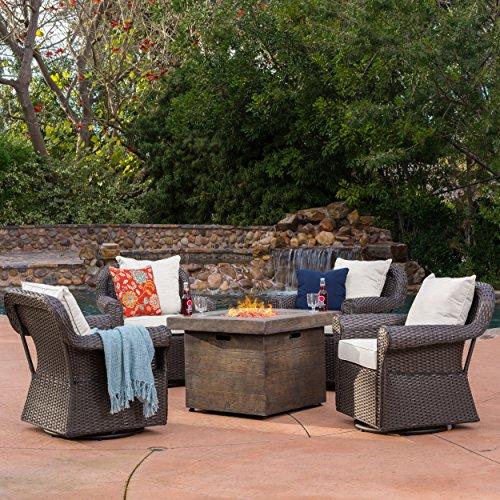 Augusta Patio Furniture ~ 5 Piece Outdoor Wicker Swivel Rocker and Propane Gas Fire Table Pit Set