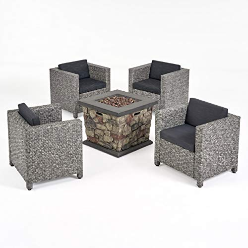 Great Deal Furniture Christine Outdoor 4 Club Chair Chat Set with Fire Pit Mix Black and Dark Gray
