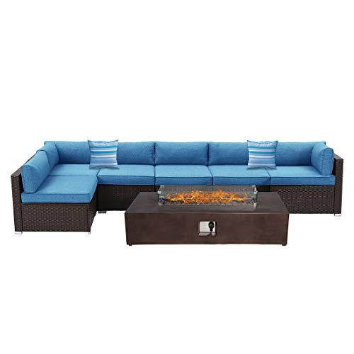 Outdoor Sectional 7-Piece Dark Brown Wicker Sofa Patio Furniture Set w 60000 BTU Rectangle Fire Pit Table Wind Glass Guard 2 Stripe Pillows Denim Blue Cushions Weatherproof Cover for Backyard