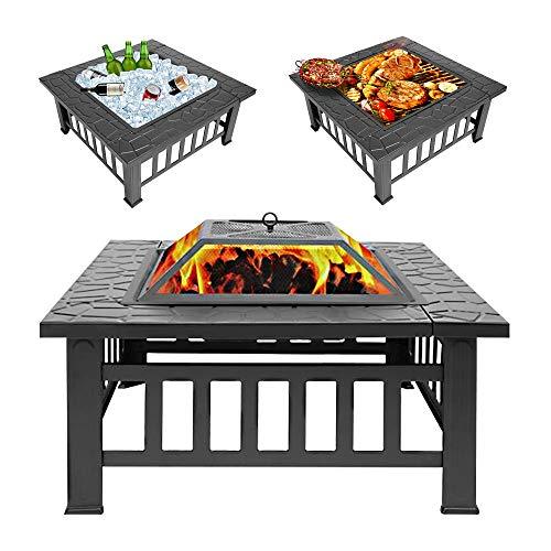 Tenozek 32 Patio Fire PitsOutdoor Stove Wood Burning Square Table Backyard Garden HeaterBBQIce Fire Pit Set 32