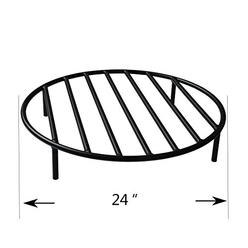 Onlyfire Heavy Duty Round Steel Outdoor Fire Pit Wood Grate With 4 Legs For Campfire Grill Cooking 24 Inch