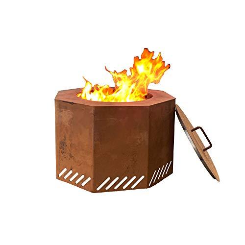 Titan Corten Steel Low Smoke Wood Burning Fire Pit 16 in x 24 with Lid