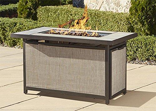 Cosco Outdoor Serene Ridge Aluminum Propane Gas Fire Pit Table With Lid Rectangular Dark Brown