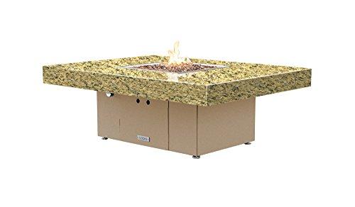 Santa Barbara Rectangular Fire Pit Table - 48 x 36 - Natural Gas - Santa Cecillia Granite Top -Beige Powdercoat Base