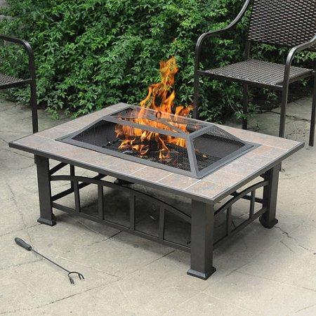 Axxonn Outdoor Rectangular Ceramic Tile Top Fire Pit Brownish Bronze