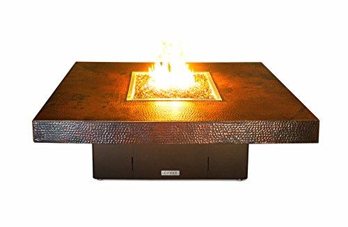 Hammered Copper Santa Barbara Rectangular Fire Pit Table - 48 x 36 x 18-Natural Gas-Black