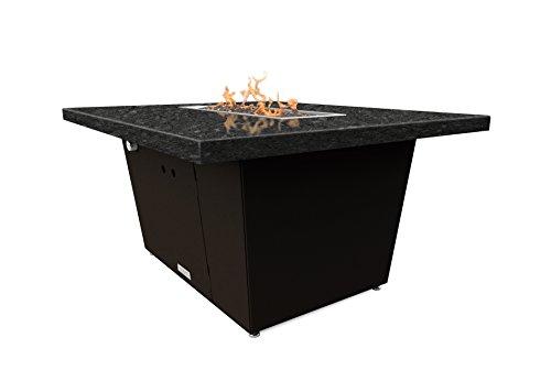 Palisades Rectangular Fire Pit Table - 52x36x15 - Chat Height - Propane - Black Pearl Granite Top - Bronze Powdercoat Base