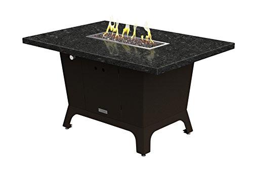 Palisades Rectangular Fire Pit Table - 52x36x15 - Dining Height - Propane - Black Pearl Granite Top - Bronze Powdercoat Base