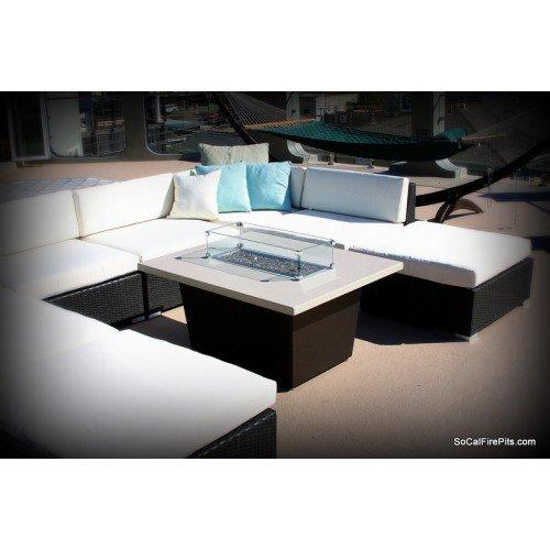 Palisades Rectangular Fire Pit Table - 52x36x4 - Chat Height - Propane - Beige Powdercoat Top - Black Powdercoat Base