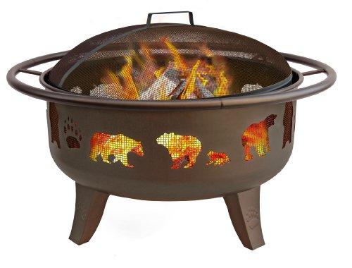 Landmann 23875 Fire Dance Bear And Paw Fire Pit 30-inch Metallic Brown